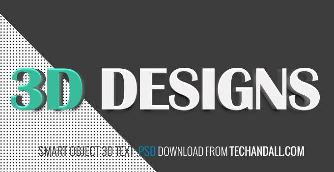 Smart Object 3D Text vol  2  PSD   Tech & ALL