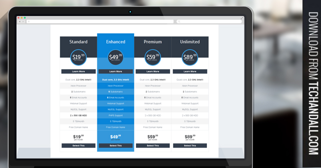 Clean css based pricing table tech all - Table design in html with css ...