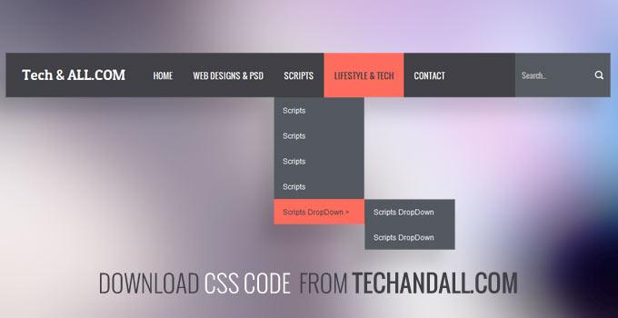 Pure CSS Flat Color DropDown Menu V 3 | Tech & ALL
