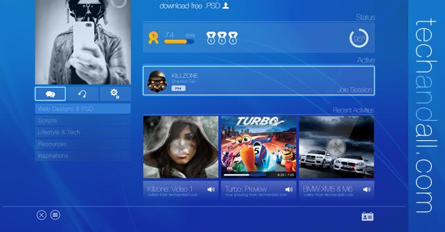 Sony Playstation UI Mockup   Tech & ALL