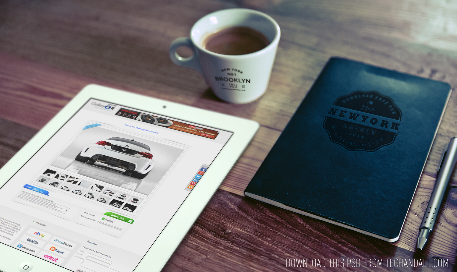 iPad, Cup Logo & Notebook Logo Mock Up