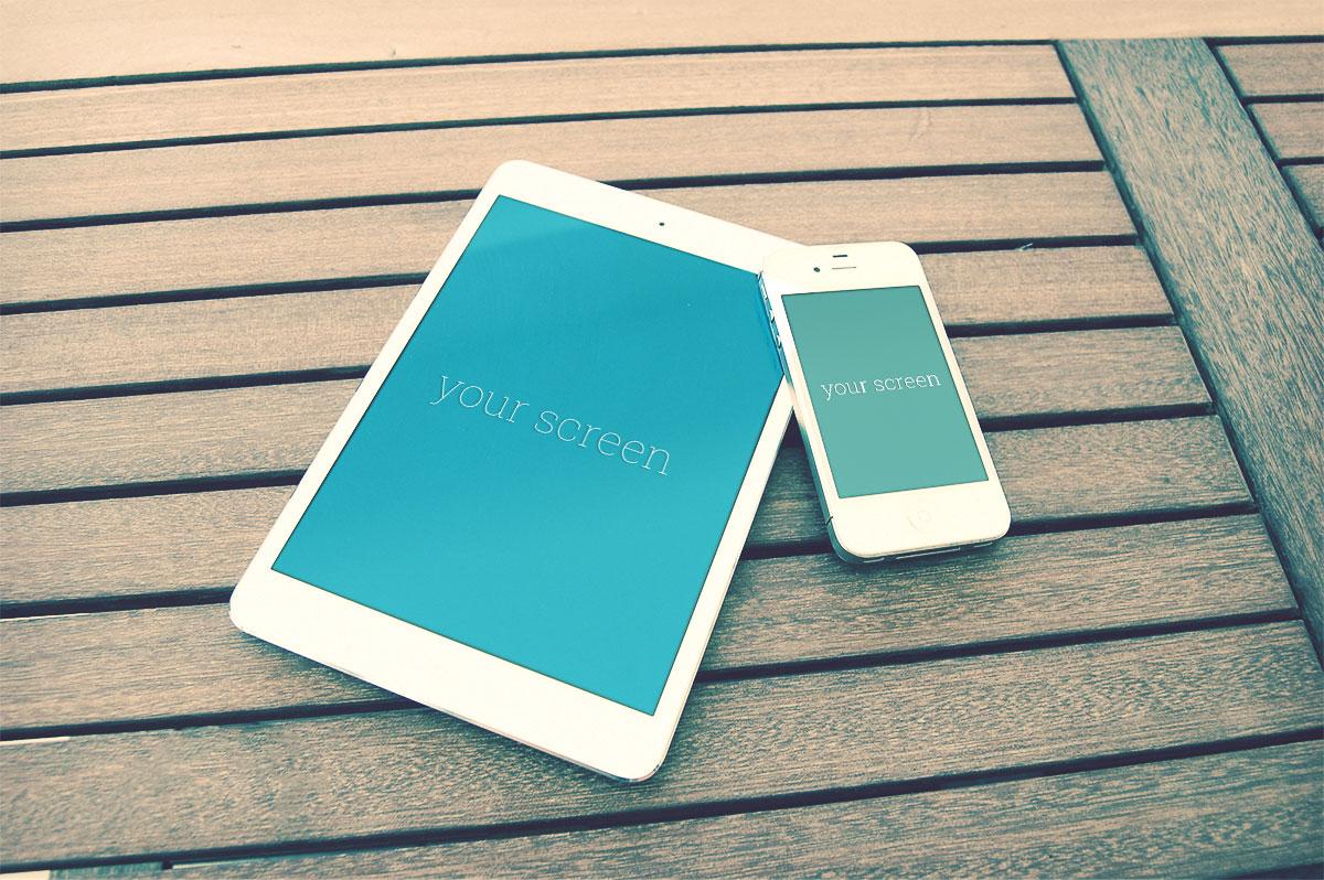 4 Iphone Ipad Photorealistic Mockups Tech All