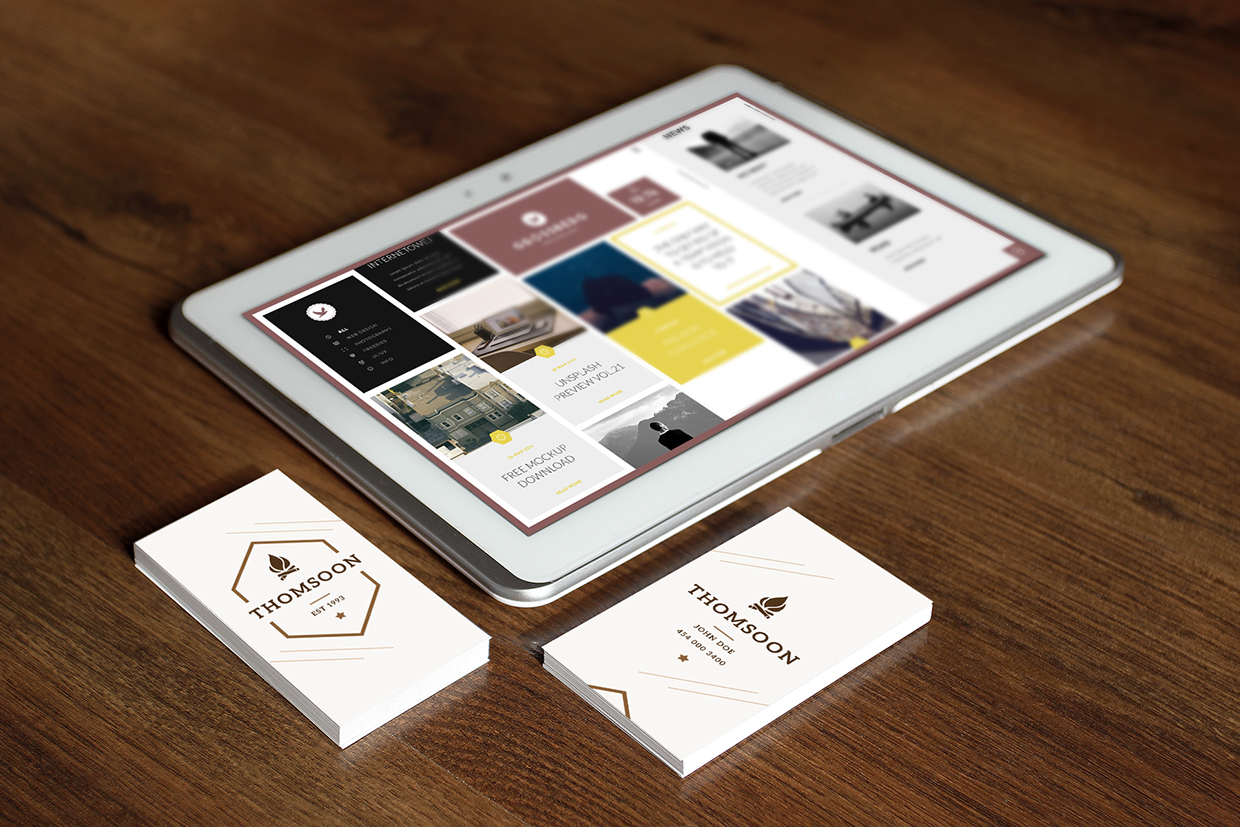 9 business card tablet mockup vol 2 welcome to tech all reheart Images