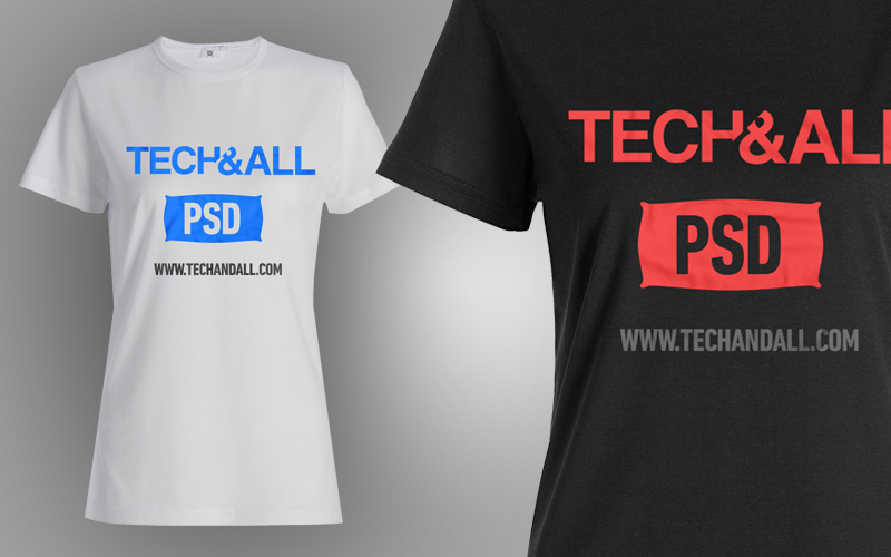 female t shirt mockup v2 psd tech all - T Shirt Template Psd Free Download