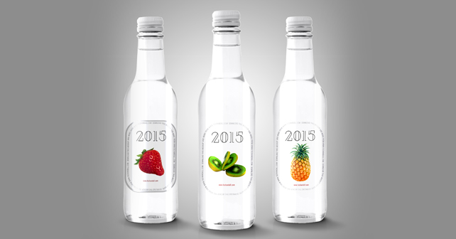 three clear water bottles mockup