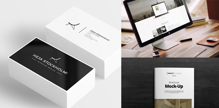 Brochure business card and workstation mock up welcome to tech all reheart Image collections