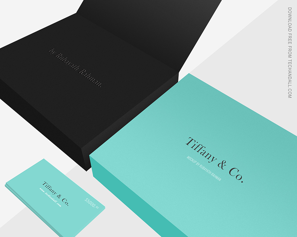 Tiffany Style Gift Box And Gift Card Mock Tech All